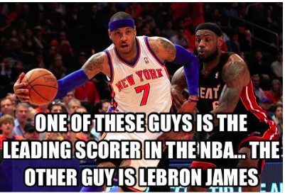 Carmelo takes the lead in the scoring race