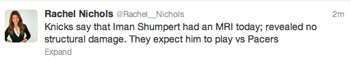 Shumpert Update: