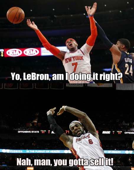 LeBron gives Carmelo Anthony some tutoring