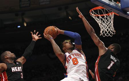 Knicks' Smith shoots during their win over the Heat in Game 4 of their NBA Eastern Conference basketball playoff series in New York