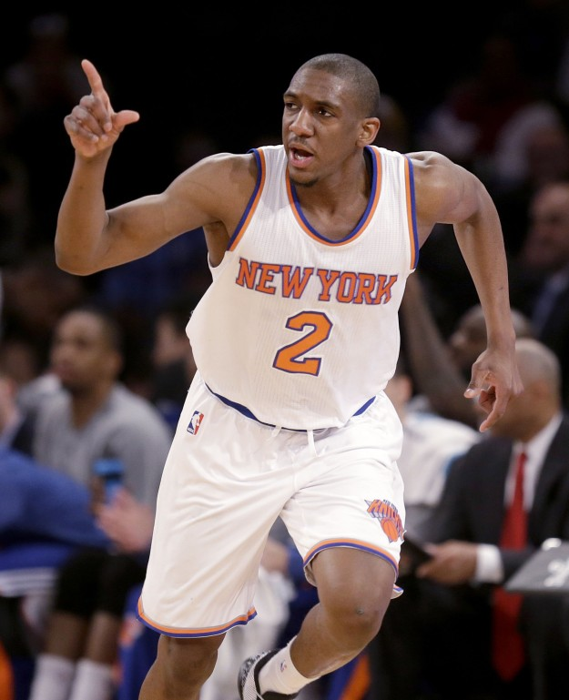 New York Knicks' Langston Galloway reacts after scoring during the first half of the NBA basketball game against the Los Angeles Lakers, Sunday, Feb. 1, 2015 in New York. (AP Photo/Seth Wenig)